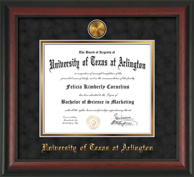 Image of University of Texas - Arlington Diploma Frame - Rosewood - w/24k Gold-Plated Medallion UTA Name Embossing - Black Suede on Gold mats
