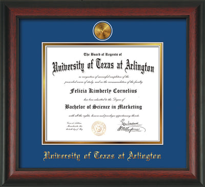 Image of University of Texas - Arlington Diploma Frame - Rosewood - w/24k Gold-Plated Medallion UTA Name Embossing - Royal Blue on Gold mats
