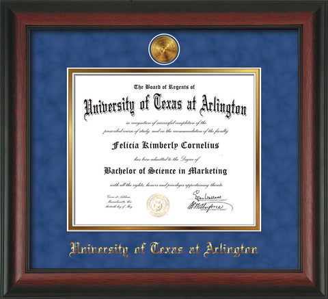 Image of University of Texas - Arlington Diploma Frame - Rosewood - w/24k Gold-Plated Medallion UTA Name Embossing - Royal Blue Suede on Gold mats