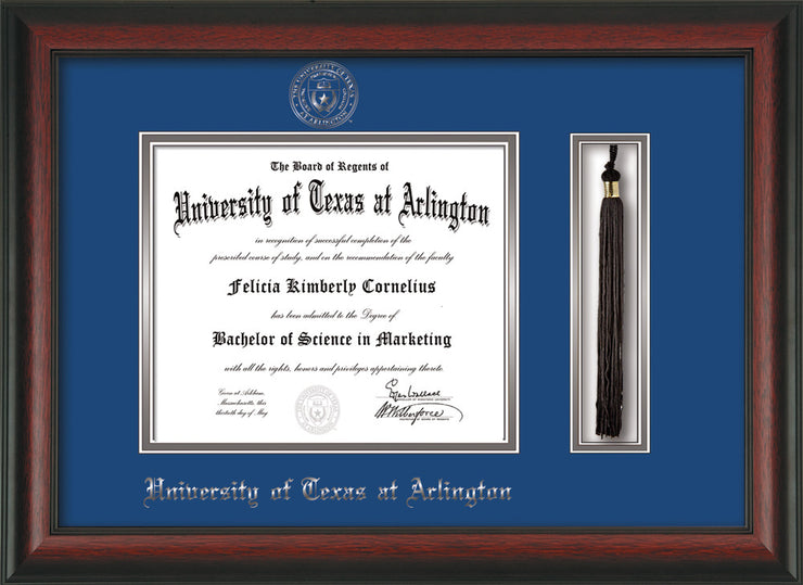 Image of University of Texas - Arlington Diploma Frame - Rosewood - w/Silver Embossed Seal & Name - Tassel Holder - Royal Blue on Silver mat