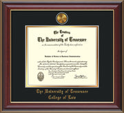 Image of University of Tennessee Diploma Frame - Cherry Lacquer - w/24k Gold Plated Medallion College of Law Name Embossing - Black on Gold Mat
