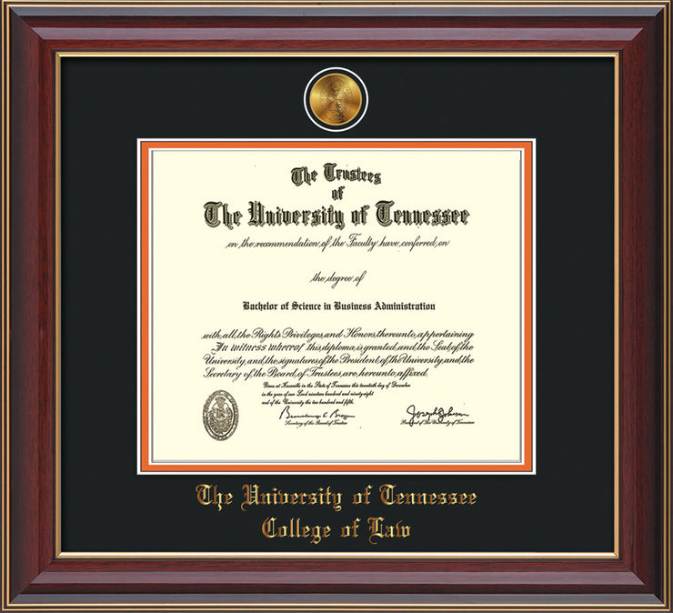 Image of University of Tennessee Diploma Frame - Cherry Lacquer - w/24k Gold Plated Medallion College of Law Name Embossing - Black on Orange Mat