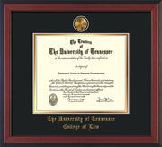 Image of University of Tennessee Diploma Frame - Cherry Reverse - w/24k Gold Plated Medallion College of Law Name Embossing - Black on Gold Mat