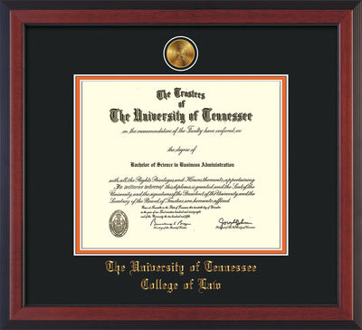 Image of University of Tennessee Diploma Frame - Cherry Reverse - w/24k Gold Plated Medallion College of Law Name Embossing - Black on Orange Mat