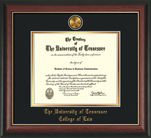 Image of University of Tennessee Diploma Frame - Rosewood w/Gold Lip - w/24k Gold Plated Medallion College of Law Name Embossing - Black on Gold Mat
