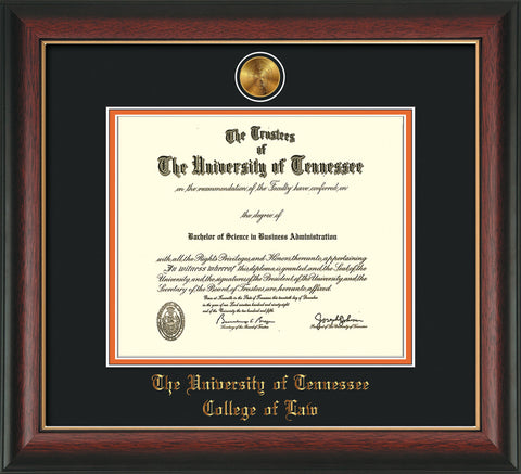 Image of University of Tennessee Diploma Frame - Rosewood w/Gold Lip - w/24k Gold Plated Medallion College of Law Name Embossing - Black on Orange Mat