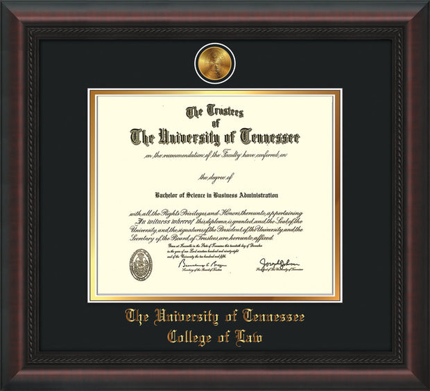 Image of University of Tennessee Diploma Frame - Mahogany Braid - w/24k Gold Plated Medallion College of Law Name Embossing - Black on Gold Mat
