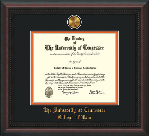 Image of University of Tennessee Diploma Frame - Mahogany Braid - w/24k Gold Plated Medallion College of Law Name Embossing - Black on Orange Mat