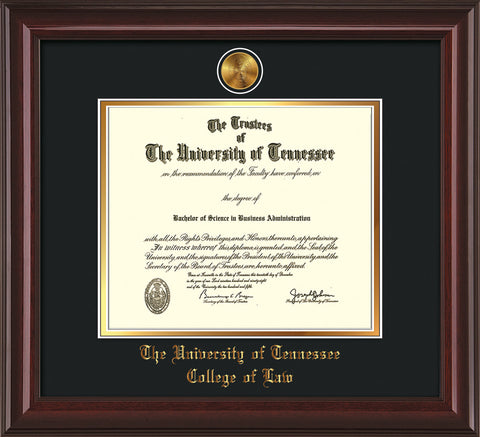 Image of University of Tennessee Diploma Frame - Mahogany Lacquer - w/24k Gold Plated Medallion College of Law Name Embossing - Black on Gold Mat