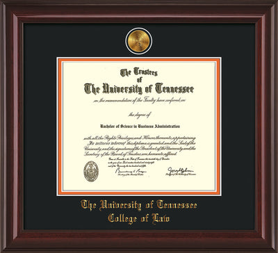 Image of University of Tennessee Diploma Frame - Mahogany Lacquer - w/24k Gold Plated Medallion College of Law Name Embossing - Black on Orange Mat