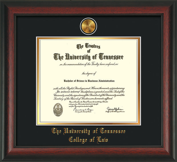 Image of University of Tennessee Diploma Frame - Rosewood - w/24k Gold Plated Medallion College of Law Name Embossing - Black on Gold Mat