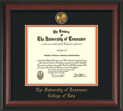 Image of University of Tennessee Diploma Frame - Rosewood - w/24k Gold Plated Medallion College of Law Name Embossing - Black on Orange Mat
