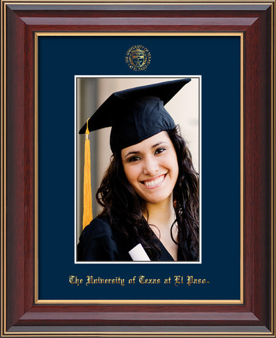 Image of University of Texas - El-Paso 5 x 7 Photo Frame - Cherry Lacquer - w/Official Embossing of UTEP Seal & Name - Single Navy mat