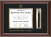 Image of University of Texas - El Paso Diploma Frame - Cherry Lacquer - w/UTEP Embossed Seal & Name - Tassel Holder - Black on Gold mat