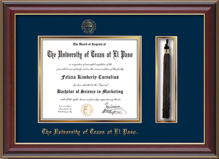 Image of University of Texas - El Paso Diploma Frame - Cherry Lacquer - w/UTEP Embossed Seal & Name - Tassel Holder - Navy on Gold mat