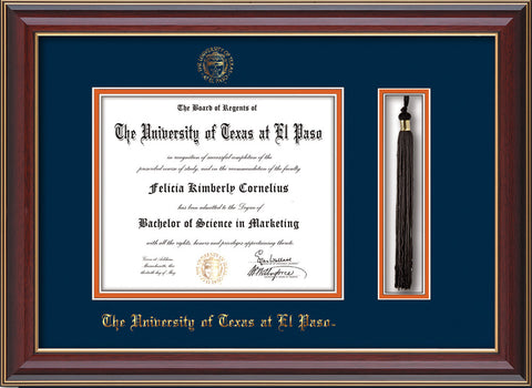 Image of University of Texas - El Paso Diploma Frame - Cherry Lacquer - w/UTEP Embossed Seal & Name - Tassel Holder - Navy on Orange mat