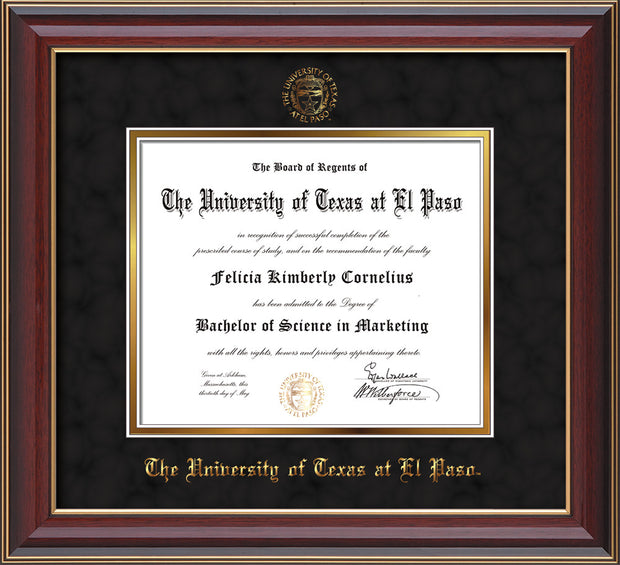 Image of University of Texas - El Paso Diploma Frame - Cherry Lacquer - w/UTEP Embossed Seal & Name - Black Suede on Gold mat
