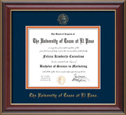 Image of University of Texas - El Paso Diploma Frame - Cherry Lacquer - w/UTEP Embossed Seal & Name - Navy on Orange mat