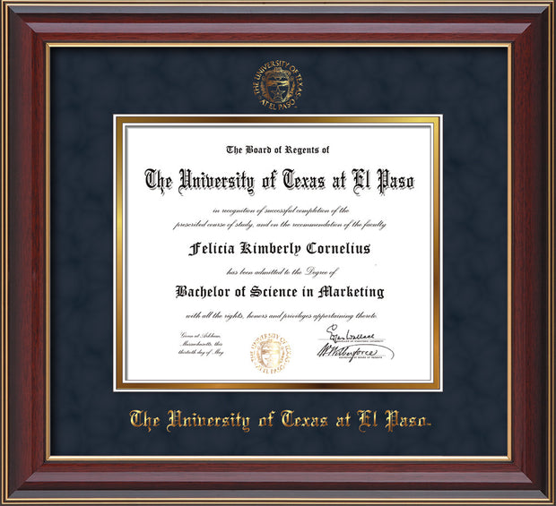 Image of University of Texas - El Paso Diploma Frame - Cherry Lacquer - w/UTEP Embossed Seal & Name - Navy Suede on Gold mat