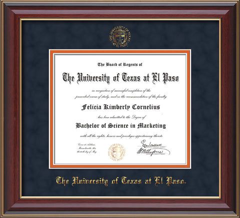 Image of University of Texas - El Paso Diploma Frame - Cherry Lacquer - w/UTEP Embossed Seal & Name - Navy Suede on Orange mat