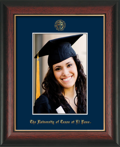 Image of University of Texas - El-Paso 5 x 7 Photo Frame - Rosewood w/Gold Lip - w/Official Embossing of UTEP Seal & Name - Single Navy mat