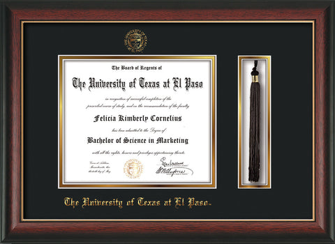 Image of University of Texas - El Paso Diploma Frame - Rosewood w/Gold Lip - w/UTEP Embossed Seal & Name - Tassel Holder - Black on Gold mat