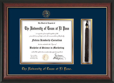 Image of University of Texas - El Paso Diploma Frame - Rosewood w/Gold Lip - w/UTEP Embossed Seal & Name - Tassel Holder - Navy on Gold mat