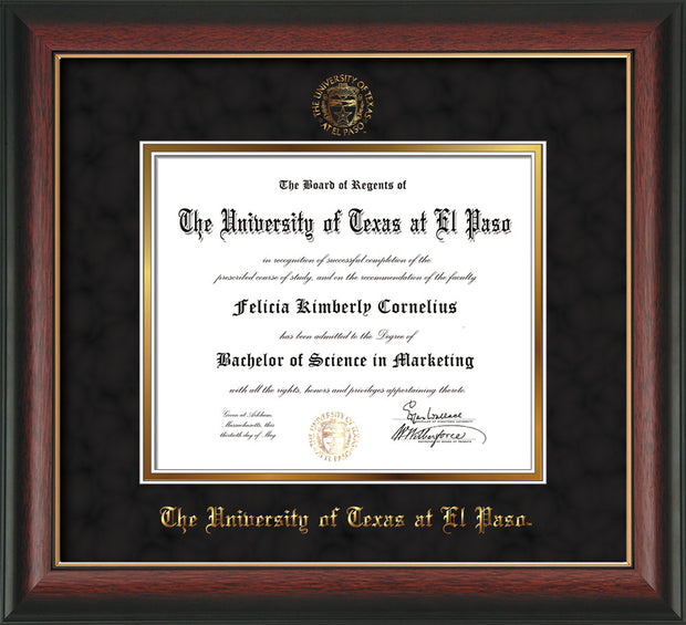 Image of University of Texas - El Paso Diploma Frame - Rosewood w/Gold Lip - w/UTEP Embossed Seal & Name - Black Suede on Gold mat