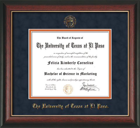 Image of University of Texas - El Paso Diploma Frame - Rosewood w/Gold Lip - w/UTEP Embossed Seal & Name - Navy Suede on Orange mat