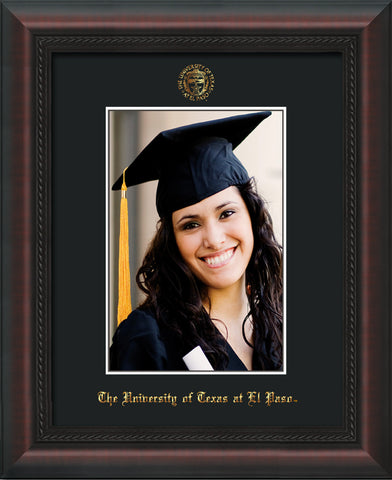 Image of University of Texas - El-Paso 5 x 7 Photo Frame - Mahogany Braid - w/Official Embossing of UTEP Seal & Name - Single Black mat