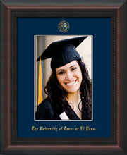 Image of University of Texas - El-Paso 5 x 7 Photo Frame - Mahogany Braid - w/Official Embossing of UTEP Seal & Name - Single Navy mat