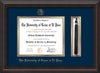 Image of University of Texas - El Paso Diploma Frame - Mahogany Braid - w/UTEP Embossed Seal & Name - Tassel Holder - Navy on Gold mat