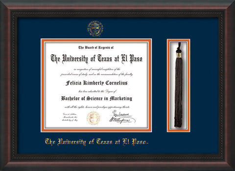 Image of University of Texas - El Paso Diploma Frame - Mahogany Braid - w/UTEP Embossed Seal & Name - Tassel Holder - Navy on Orange mat