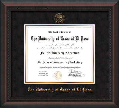 Image of University of Texas - El Paso Diploma Frame - Mahogany Braid - w/UTEP Embossed Seal & Name - Black Suede on Gold mat