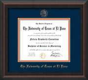 Image of University of Texas - El Paso Diploma Frame - Mahogany Braid - w/UTEP Embossed Seal & Name - Navy on Orange mat