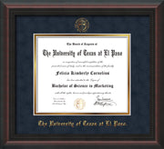 Image of University of Texas - El Paso Diploma Frame - Mahogany Braid - w/UTEP Embossed Seal & Name - Navy Suede on Gold mat