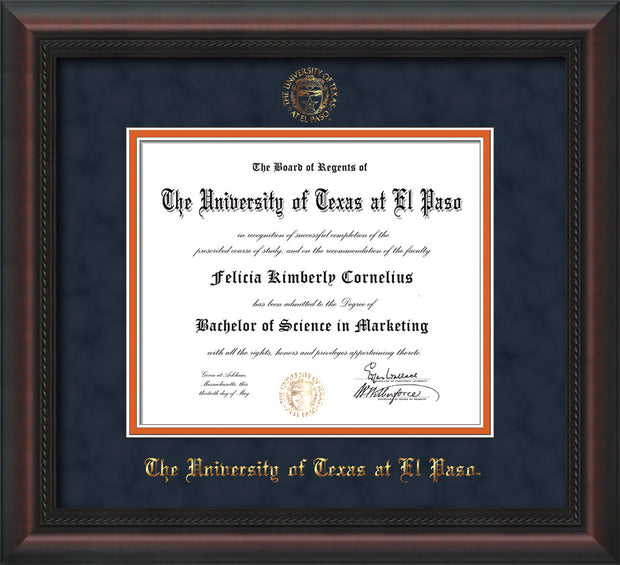 Image of University of Texas - El Paso Diploma Frame - Mahogany Braid - w/UTEP Embossed Seal & Name - Navy Suede on Orange mat