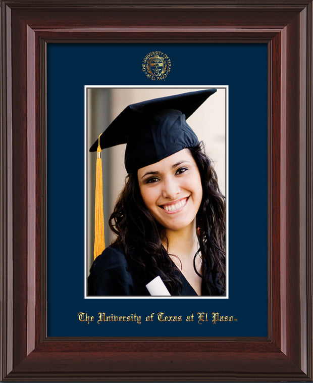 Image of University of Texas - El-Paso 5 x 7 Photo Frame - Mahogany Lacquer - w/Official Embossing of UTEP Seal & Name - Single Navy mat