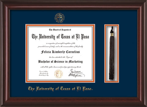 Image of University of Texas - El Paso Diploma Frame - Mahogany Lacquer - w/UTEP Embossed Seal & Name - Tassel Holder - Navy on Orange mat