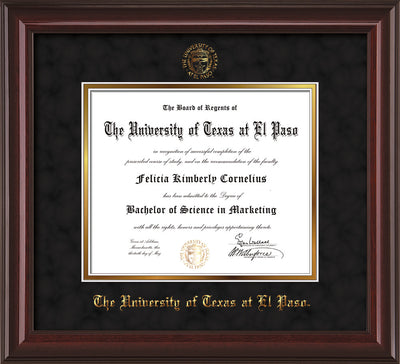 Image of University of Texas - El Paso Diploma Frame - Mahogany Lacquer - w/UTEP Embossed Seal & Name - Black Suede on Gold mat