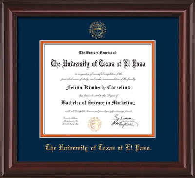 Image of University of Texas - El Paso Diploma Frame - Mahogany Lacquer - w/UTEP Embossed Seal & Name - Navy on Orange mat