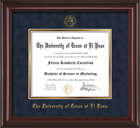 Image of University of Texas - El Paso Diploma Frame - Mahogany Lacquer - w/UTEP Embossed Seal & Name - Navy Suede on Gold mat