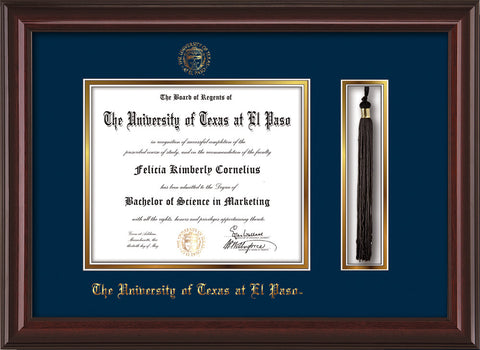 Image of University of Texas - El Paso Diploma Frame - Mahogany Lacquer - w/UTEP Embossed Seal & Name - Tassel Holder - Navy on Gold mat