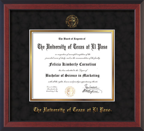 Image of University of Texas - El Paso Diploma Frame - Cherry Reverse - w/UTEP Embossed Seal & Name - Black Suede on Gold mat