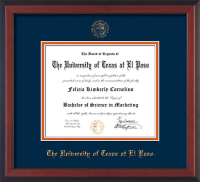 Image of University of Texas - El Paso Diploma Frame - Cherry Reverse - w/UTEP Embossed Seal & Name - Navy on Orange mat