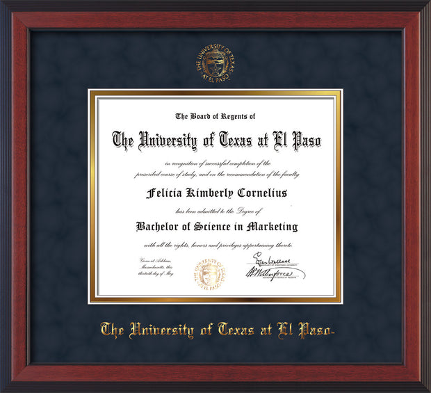 Image of University of Texas - El Paso Diploma Frame - Cherry Reverse - w/UTEP Embossed Seal & Name - Navy Suede on Gold mat