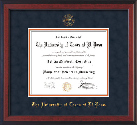 Image of University of Texas - El Paso Diploma Frame - Cherry Reverse - w/UTEP Embossed Seal & Name - Navy Suede on Orange mat