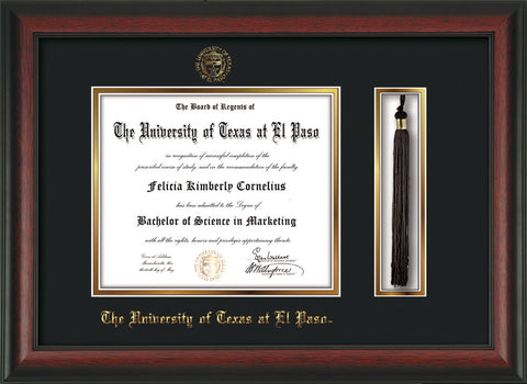 Image of University of Texas - El Paso Diploma Frame - Rosewood - w/UTEP Embossed Seal & Name - Tassel Holder - Black on Gold mat
