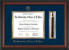 Image of University of Texas - El Paso Diploma Frame - Rosewood - w/UTEP Embossed Seal & Name - Tassel Holder - Navy on Gold mat