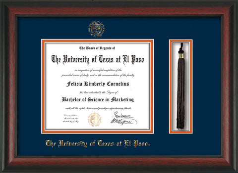Image of University of Texas - El Paso Diploma Frame - Rosewood - w/UTEP Embossed Seal & Name - Tassel Holder - Navy on Orange mat